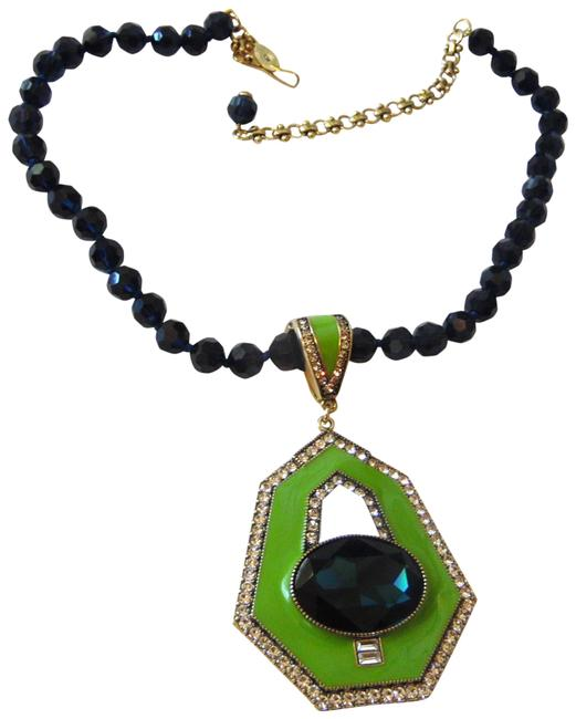 """Item - Bronzetone Blue/Green """" Well Connected:"""" Crystal Necklace"""