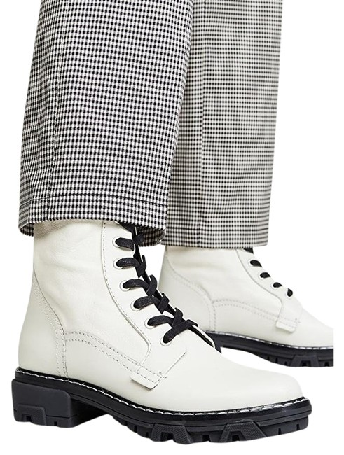 Item - Antique White Shiloh Lace-up Leather Combat Boots/Booties Size US 7.5 Regular (M, B)