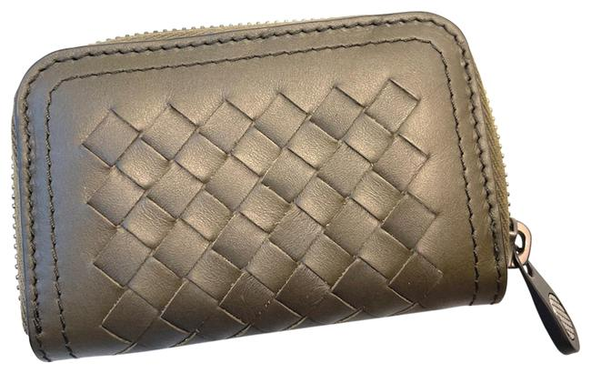 Item - Mustard Green Intrecciato Leather Coin/Card Wallet