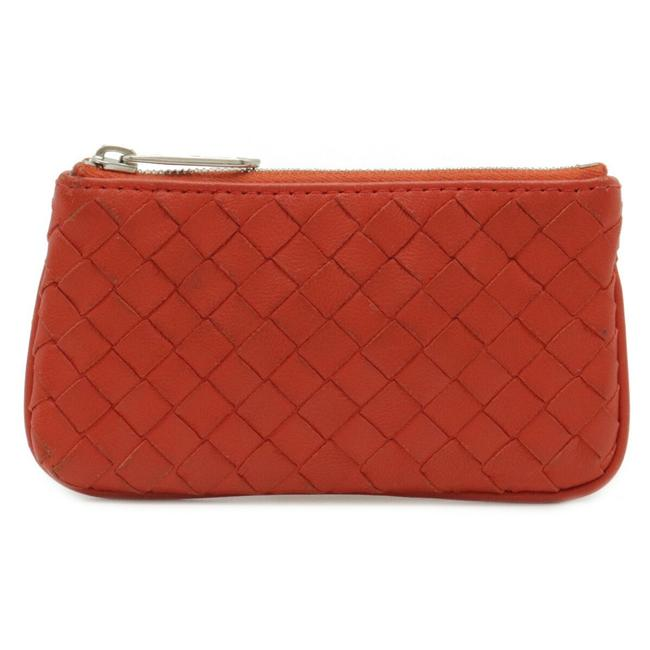 Item - Orange Intrecciato Coin Case Leather Silver Metal Fittings 131232 Wallet