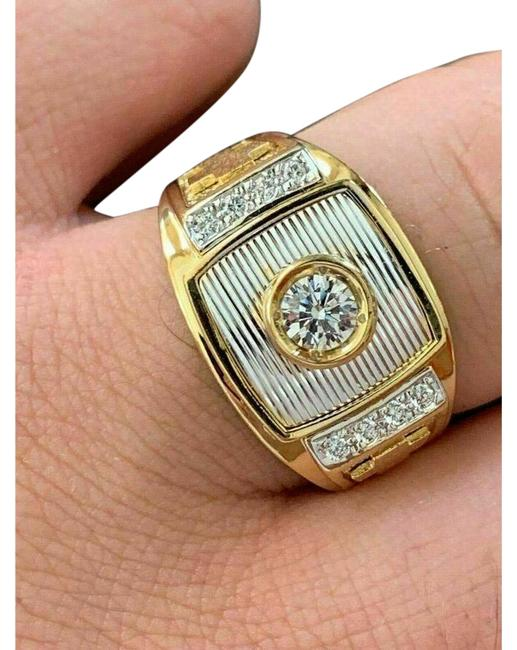 Item - Yellow White Gold Silver W 14k Over Solid 925 Diamond W. Cross Ring