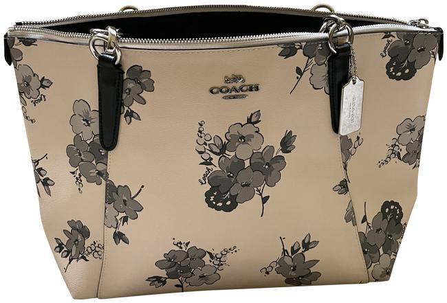 Item - Ava Floral Peach and Grey Leather Tote