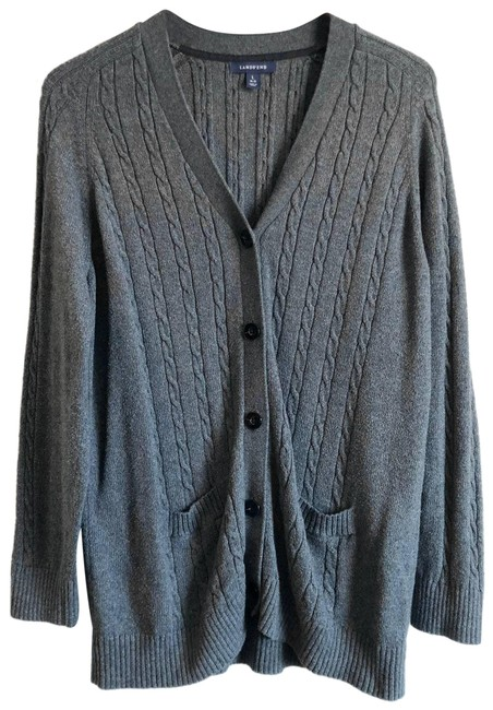 Item - Cable Knit Button Up Cardigan Gray Sweater