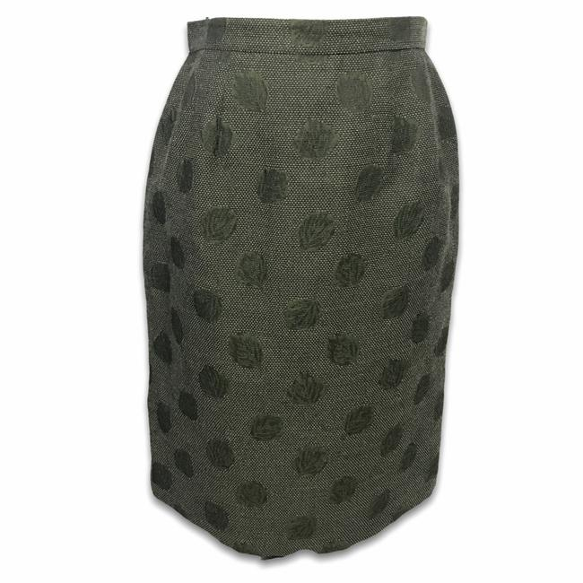 Item - Green Leaf Jacquard Lined Pencil Small Skirt Size 4 (S, 27)