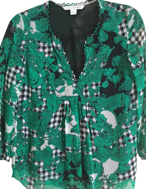 Item - Green Black White Print Camden Blouse Size 2 (XS)