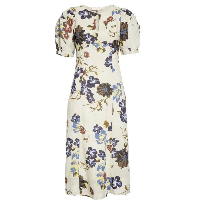 Item - Cream Margherite Floral Print Midi Puff Sleeve Keyhole Mid-length Casual Maxi Dress Size 2 (XS)