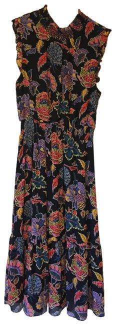 Item - Navy Blue with Pink Red Purple and Blue Accents High Neck Long Casual Maxi Dress Size 6 (S)