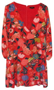 J.Crew short dress red with flower design on Tradesy