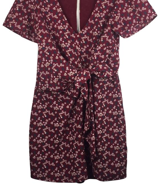 Item - Red Wine Floral Knotted Waist Cocktail Dress Size 8 (M)