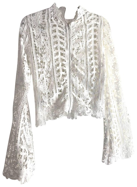 Item - White Unbranded Bell Sleeve Lace Boho Blouse Size 8 (M)