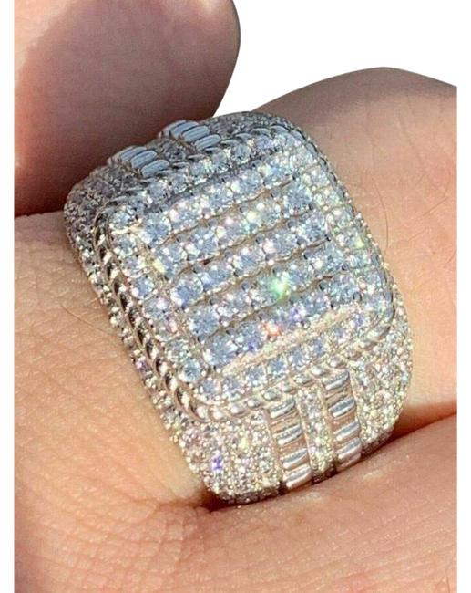 Item - Silver Solid 925 Sterling Real Icy Square Cluster Hip Hop Pinky Ring