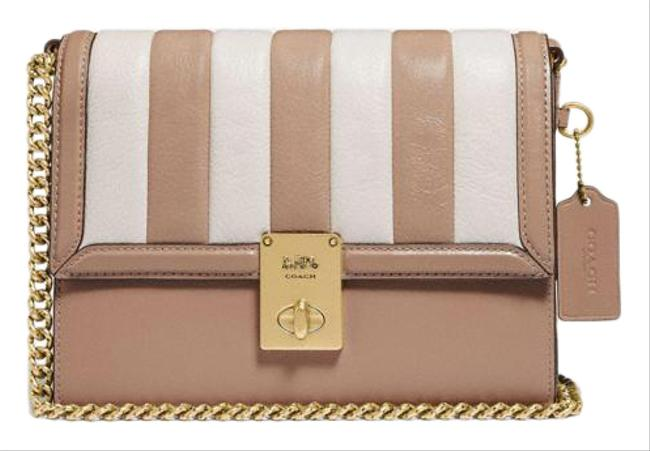 Item - Hutton with Colorblock Quilting Light Taupe Leather Shoulder Bag