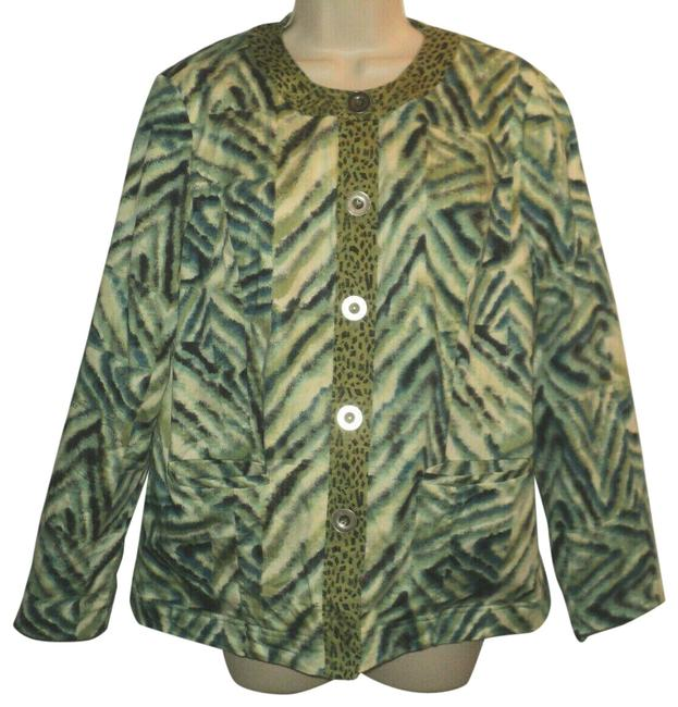 Item - Blue Green Black Cream Runs Larger Than A Small Abstract Animal Print Buttoned Blazer Size 6 (S)