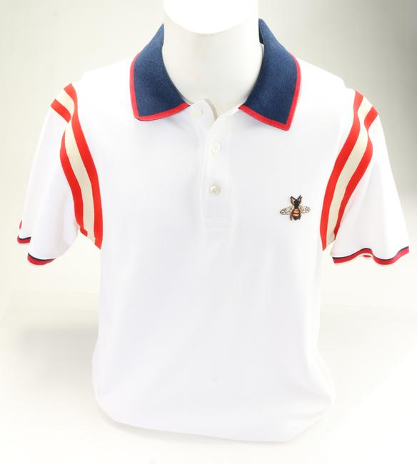 Item - White Bee Striped Polo Shirt Men's Jewelry/Accessory