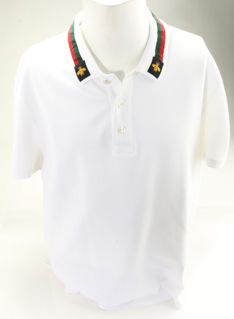 Item - White Web-detail Bee Polo Shirt Men's Jewelry/Accessory