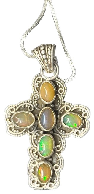 """Item - Silver and Multi-color Tooled .925 Sterling Oval Ethiopian Opals Bezel Set Cross 18"""" Necklace"""