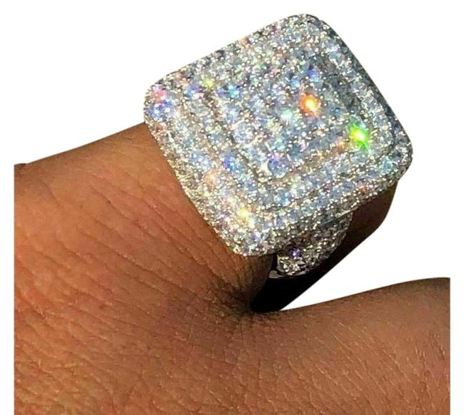 Item - Silver Solid 925 Hip Hop Diamond Pinky Square Ring
