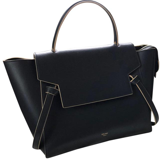 Item - Big Belt Bag Smooth Navy with Yellow Outline Calfskin Leather Satchel
