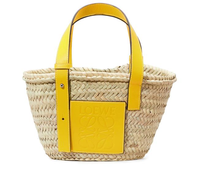 Item - Small Leather-trimmed Woven Yellow Raffia Tote