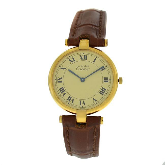 Item - Gold Must De Vermeil 590003 Silver Plaque Quartz 30mm Watch