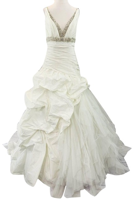 Item - Cream New Ivory Wedding Gown Beaded Sparkle Long Formal Dress Size 12 (L)