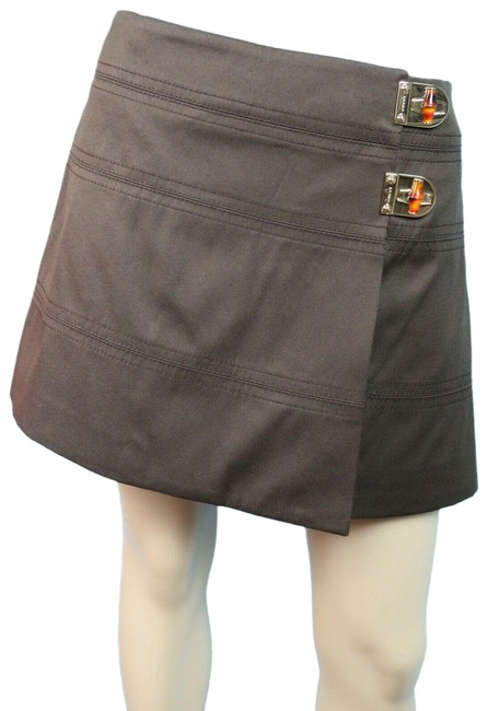 Item - Brown 212891 2x Jeweled Turnlock Buckle Logo 44 Skirt Size 12 (L, 32, 33)