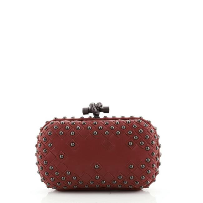 Item - Knot Studded Intrecciato Nappa Small Red Leather Clutch