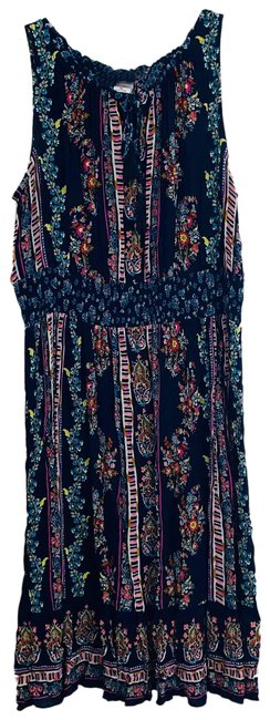 Item - Blue XL Navy/Multi Color Floral Sleeveless with Cinch Waist Short Casual Dress Size 16 (XL, Plus 0x)