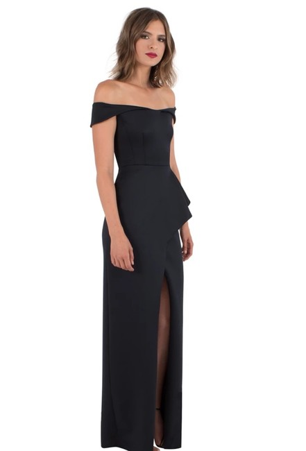 Item - Navy Padma Off-the-shoulder Gown with Slit Long Casual Maxi Dress Size 2 (XS)