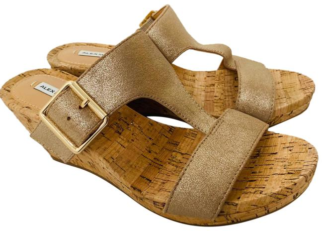 Item - Leather Muted Gold Cork Wedge Sandals Size US 7 Regular (M, B)