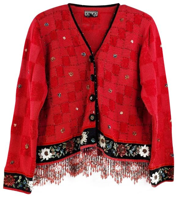 Item - Vintage Beaded Sequin Red Sweater