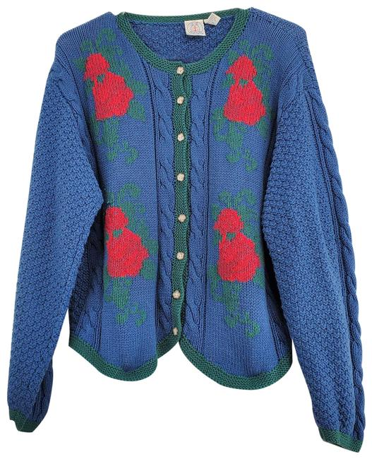 Item - Chunky Slouchy Hand Knit Cardigan Blue Sweater