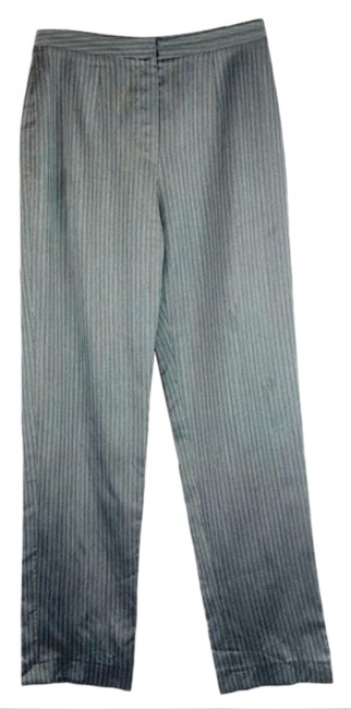 Item - Gray White High Waisted Straight Leg 1990s Striped Pants Size 4 (S, 27)