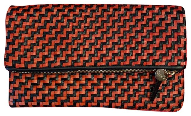 Item - Foldover Black and Red Woven Leather Clutch