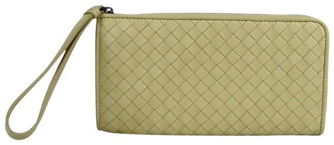 Item - Pale Yellow Leather Woven Zip Around Wristlet 244823 7303 Wallet