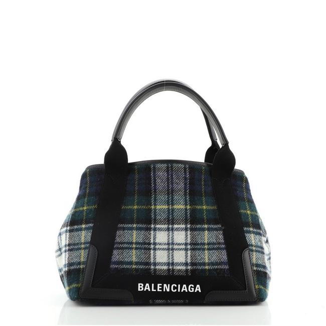 Item - Cabas Navy Small Black Green Multicolor Wool Tote
