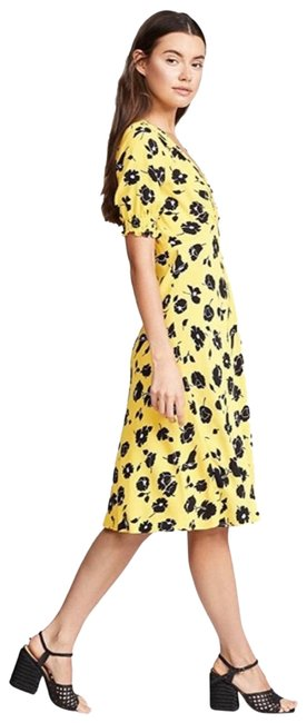 Item - Yellow Jemma Floral Mid-length Short Casual Dress Size 0 (XS)