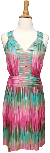 Item - Pink/ Green/ Multi Color Print Sleeveless Short Casual Dress Size 0 (XS)