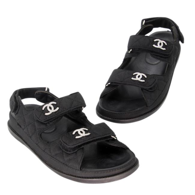 Item - Black Quilted Diamond Leather Cc Strap Dad Sandals Size US 8 Regular (M, B)