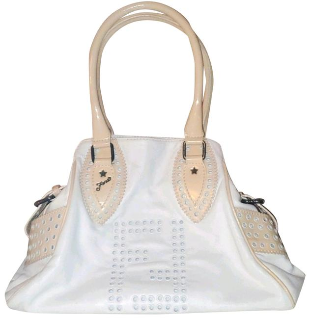 Item - Etniko White and Beige Leather Patent Leather Hobo Bag