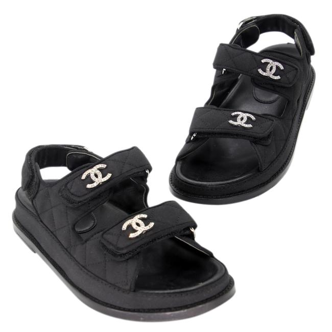 Item - Black Twill Canvas Diamond Quilted Strap Cc Logo Dad Sandals Size US 8 Regular (M, B)