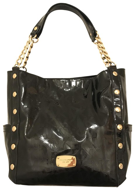 Item - Delancy Lg Signature Mirror Studded Black Gold Patent Leather Tote