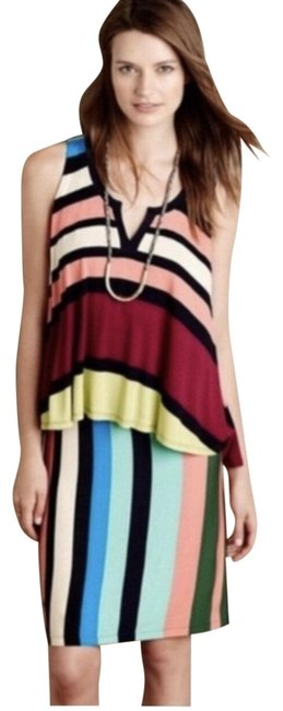 Item - Blue Green Pink Maeve Davina Striped Layered Mid-length Short Casual Dress Size 4 (S)