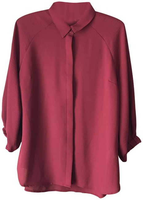 Item - Maroon Covered Placket Blouse Size 8 (M)