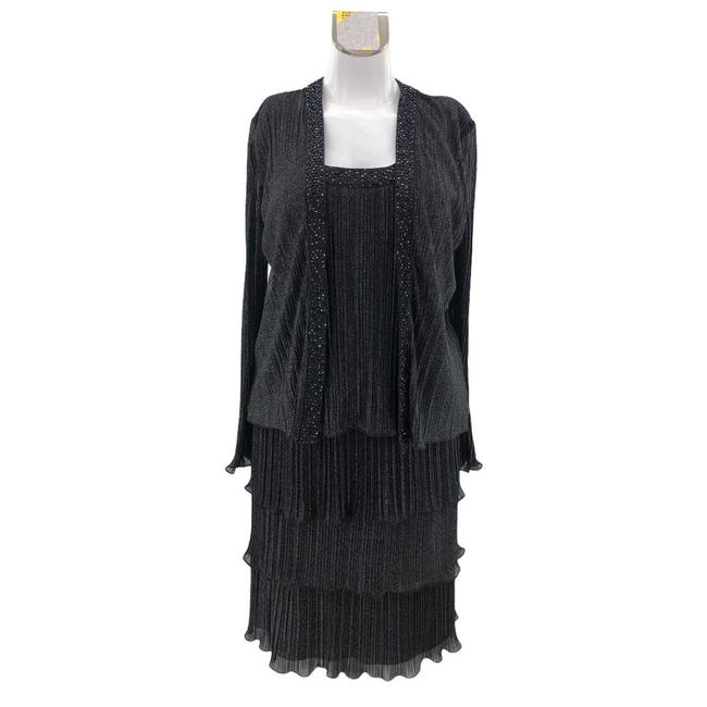Item - Black (12) Vintage Pleated Beaded with Silver Shimmer Mid-length Formal Dress Size 12 (L)