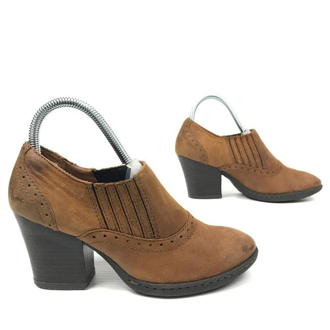 Item - Brown Brogue Cognac Nubuck Leather Almond Toe Slip On Low Ankle Boots/Booties Size US 6.5 Regular (M, B)