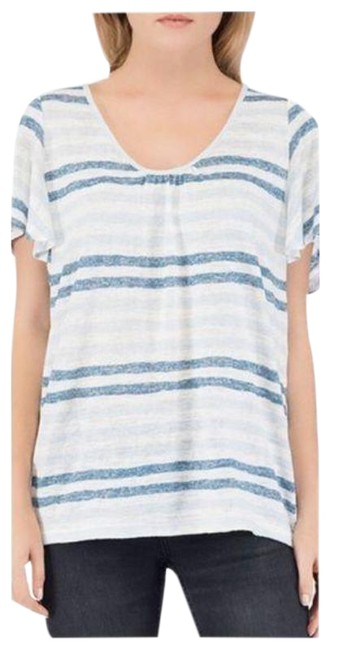 Item - Blue White B Collection Striped Short Sleeve Tie Back T-shirt Blouse Size 26 (Plus 3x)