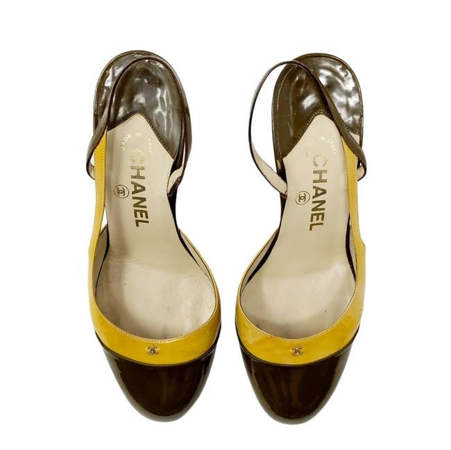 Item - Gold Green Patent Leather Olive Slingback Heels Pumps Size EU 36.5 (Approx. US 6.5) Regular (M, B)