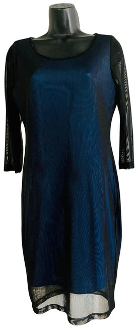 Item - Black and Blue Mesh Mid-length Cocktail Dress Size 8 (M)