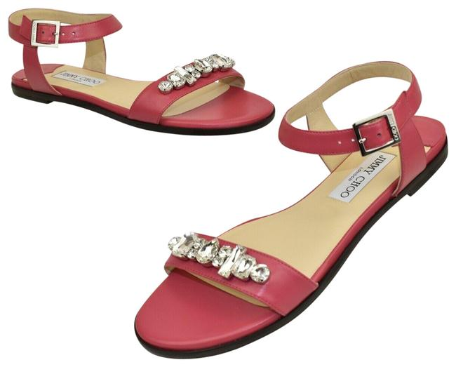 Item - Pink City Onpa Leather Ankle Strap Jeweled Flats Sandals Size EU 41.5 (Approx. US 11.5) Regular (M, B)